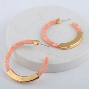 Jewelry - Acrylic Pink and Gold Hoop Earrings